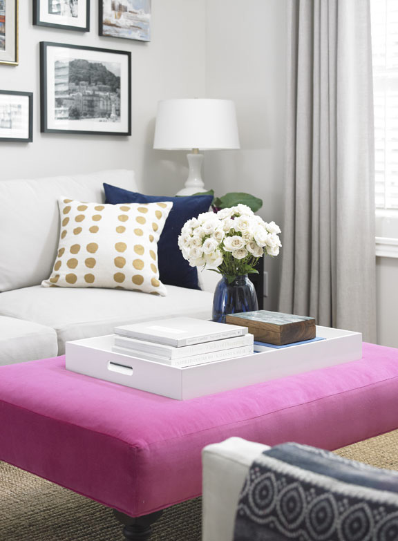pink ottoman, Vanessa Francis Design, my home